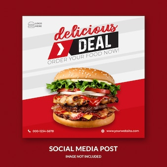 Burger post social feed modello premium psd