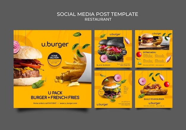 Burger restaurant instagram-berichten