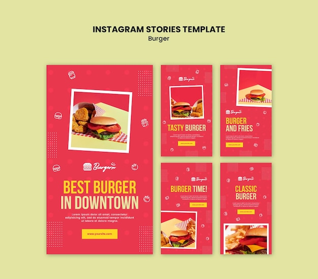 Burger restaurant instagram verhalen sjabloon