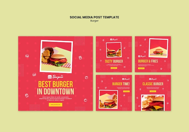 Burger restaurant sociale media post sjabloon