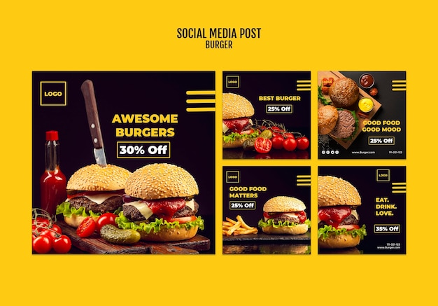 Burger social media postsjabloon