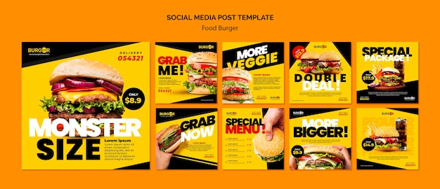 Burger speciale aanbieding social media posts