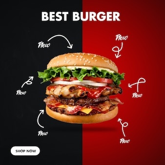 Burger square banner para redes sociales
