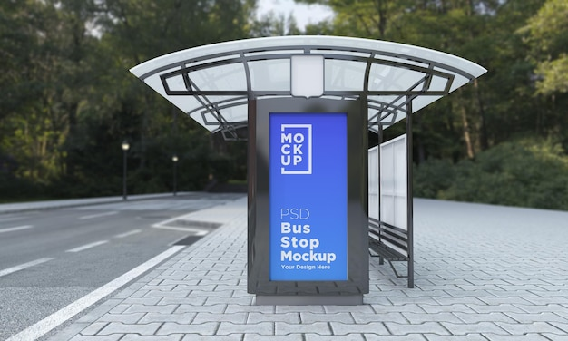 Bushalte bushokje teken mockup 3d-rendering