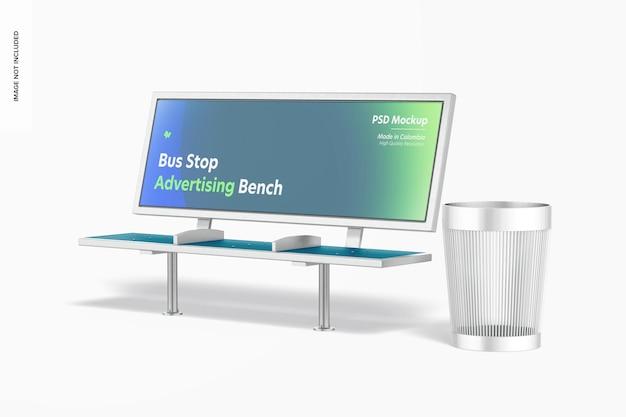 Bushalte reclamebank met prullenbakmodel