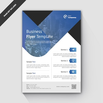 Business flyer template gradiente blu
