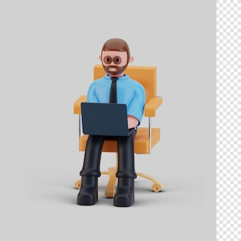 Bussines man karakter en laptop, 3d-rendering