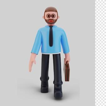 Bussines man karakter wandelen, 3d-rendering
