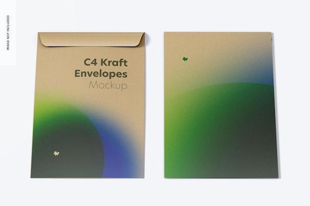 C4 kraft enveloppen mockup, vooraanzicht
