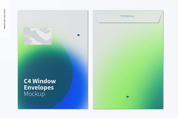C4 venster enveloppen mockup bovenaanzicht
