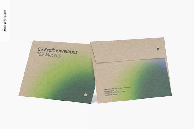 C6 kraft enveloppen mockup, vooraanzicht