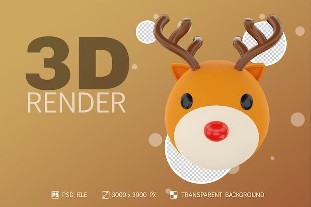 Cabeza de ciervo de renderizado 3d con fondo aislado