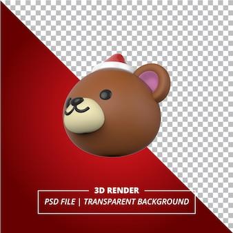 Cabeza de oso 3d con un sombrero de navidad sobre fondo transparente