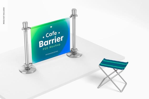 Cafe barrier mockup, rechts uitzicht