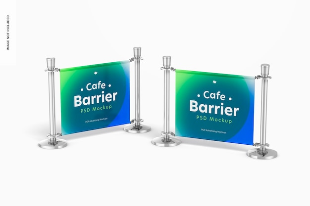 Cafe barriers mockup