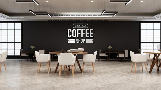 Café-logomodel in de restaurantruimte met houten designbinnenmuur