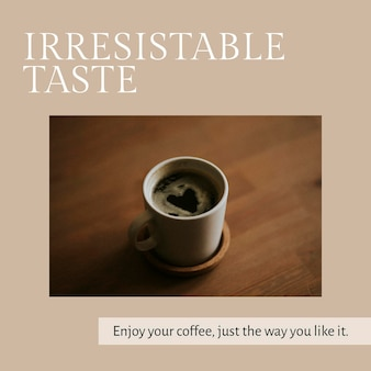 Cafe marketing plantilla psd para publicación en redes sociales sabor irresistible
