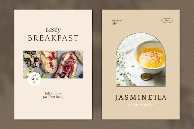 Cafe psd poster sjabloon set