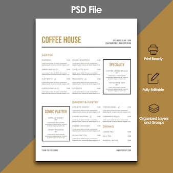 Cafe restaurant menusjabloon