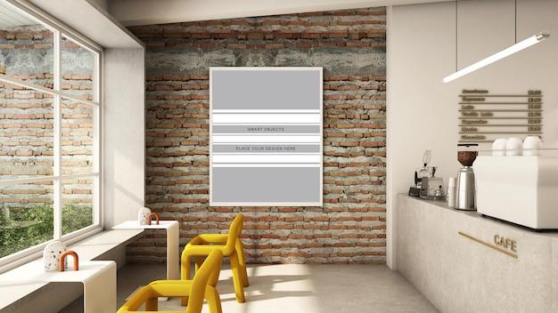 Cafe winkel ontwerp minimalist en loft 3d render
