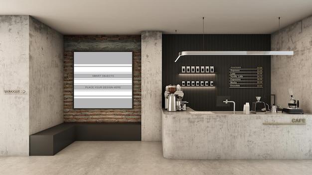Cafe winkel restaurant ontwerp minimalistisch en loft donkere toon 3d render