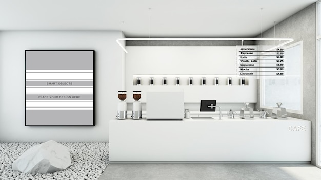 Cafe winkel restaurant ontwerp moderne en minimale witte toon 3d render