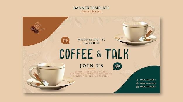 Caffè e parlare in stile modello banner