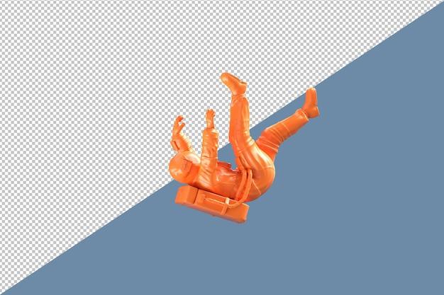 Caída de trazado de recorte de astronauta naranja