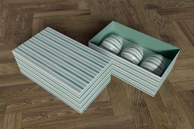 Caja de alto ángulo con huevos pintados