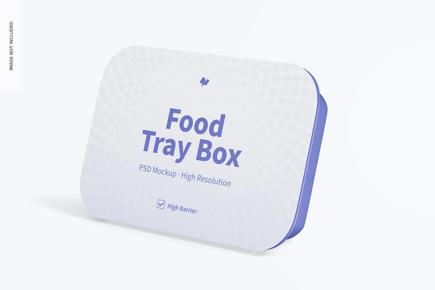 Caja de bandeja de comida con maqueta de etiqueta, inclinada