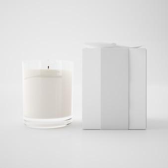 Caja blanca y vela