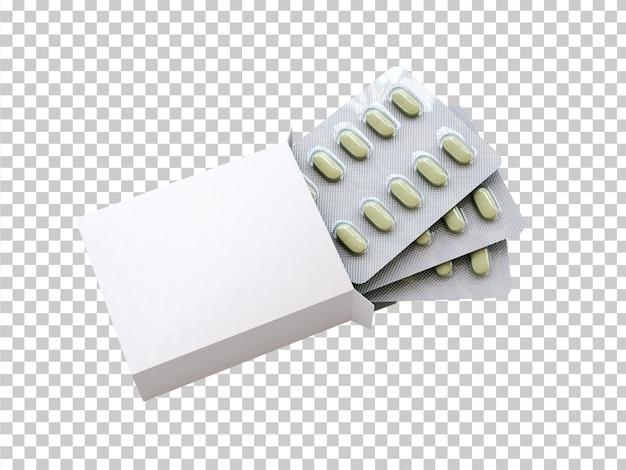 Caja en blanco con blister de drogas