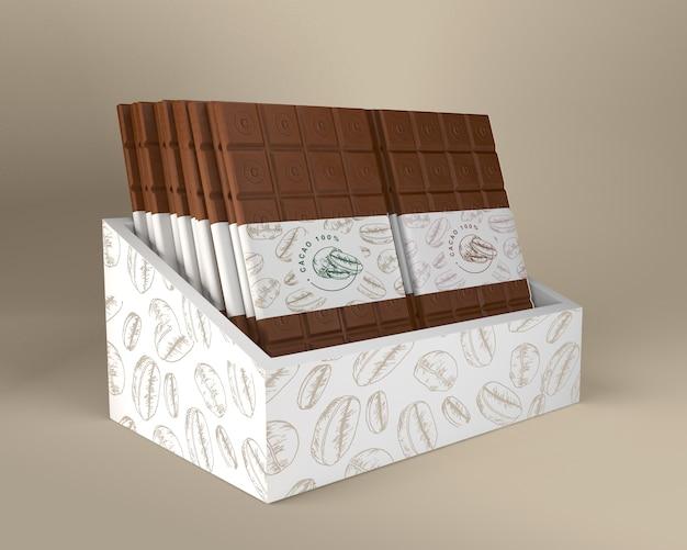 Caja de chocolate y diseño de packaging de papel.