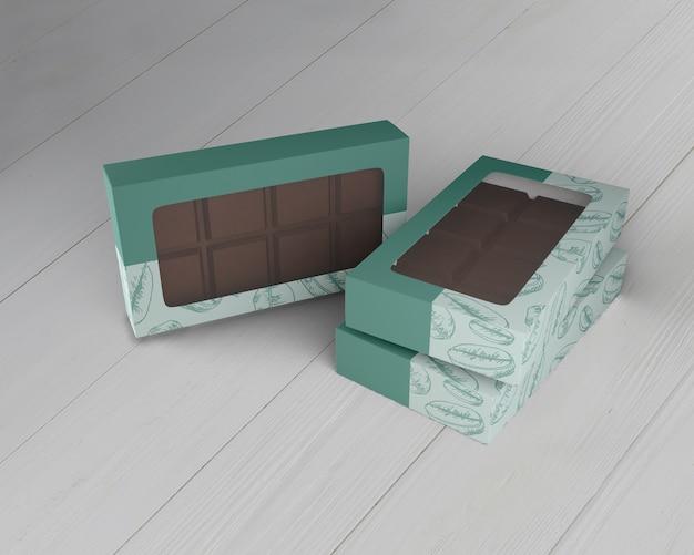 Caja de maqueta de diseño de chocolate