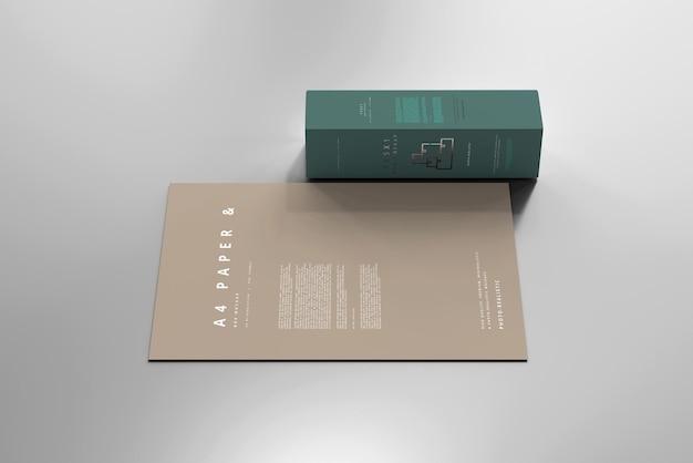 Caja con maqueta de papel a4