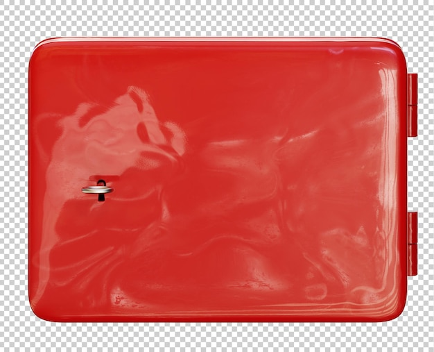 Caja de metal roja cerrada con una llave render 3d aislado