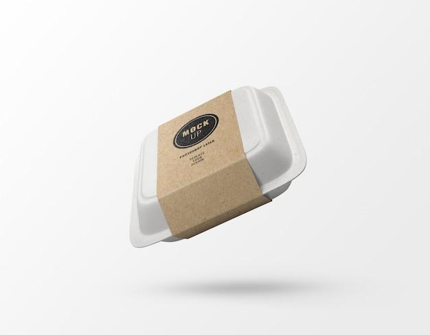 Caja de papel de comida rápida y maqueta de etiqueta realista
