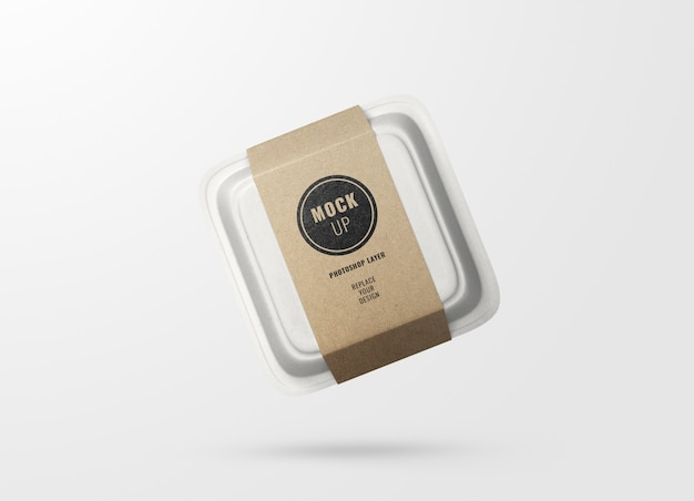 Caja de papel de comida rápida y maqueta publicitaria de etiquetas realista