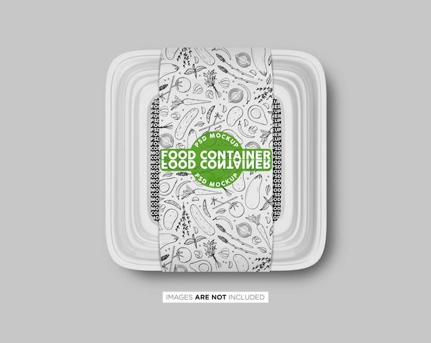 Caja de plástico de comida rápida con etiqueta