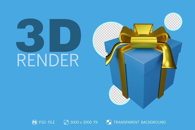 Caja de regalo 3d con fondo aislado