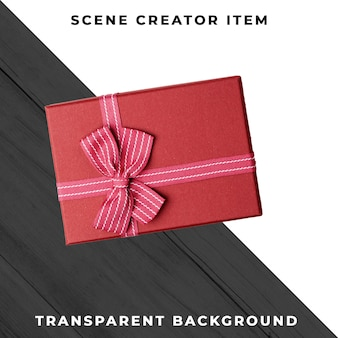 Caja de regalo con cinta aislada con trazado de recorte.
