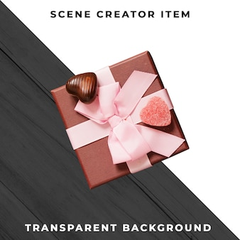 Caja de regalo con cinta rosa aislada con trazado de recorte.