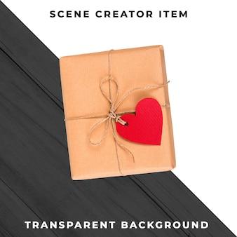 Caja de regalo con corazón aislado con trazado de recorte.
