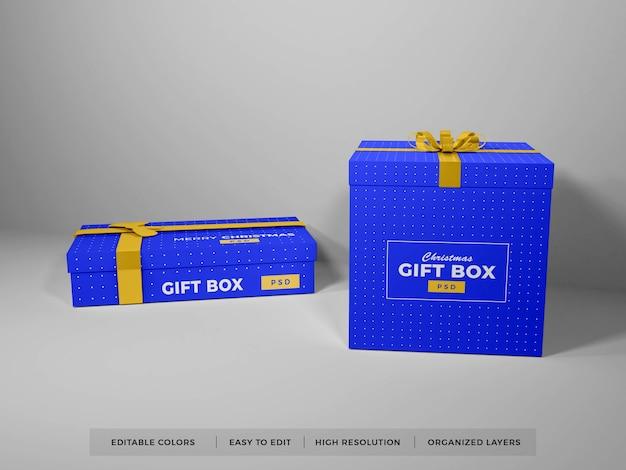 Caja de regalo de navidad con maqueta de cinta