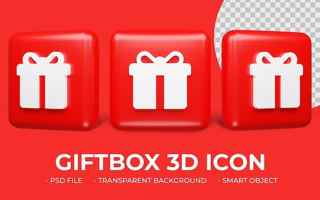 Caja de regalo o icono de regalo representación 3d aislada
