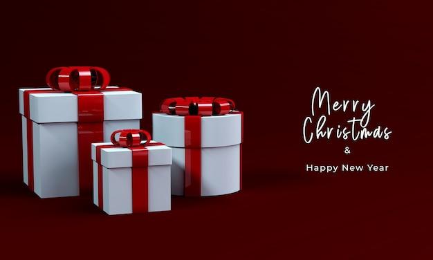 Caja de regalo de render 3d para feliz navidad