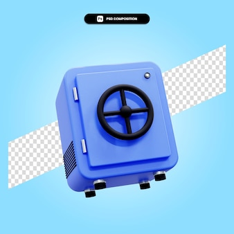 Caja de seguridad 3d render ilustración aislada