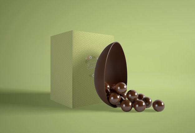 Caja verde con huevos de chocolate