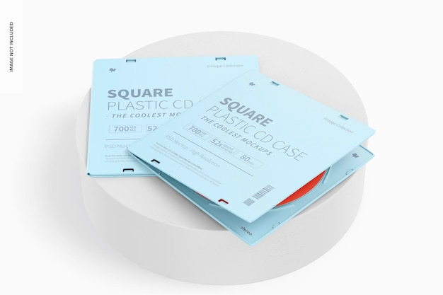 Cajas de cd de plástico cuadradas en maqueta de superficie