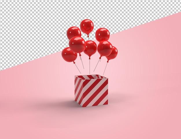 Cajas de regalos brillantes rojas y rosadas con representación de globos rojos